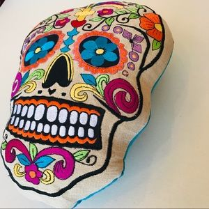SUGAR SKULL PILLOW ALL EMBROIDERED DAY OF THE DEAD